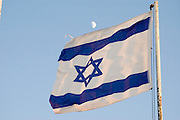 Israeli Flag blue sky and moon