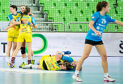 Players of Leipzig celebrate after winning during handball match between RK Krim Mercator (SLO) and HC Leipzig (GER) in 6th Round of Women's EHF Champions League 2014/15, on November 21, 2014 in Arena Stozice, Ljubljana, Slovenia. Photo by Vid Ponikvar / Sportida