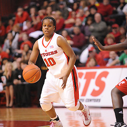 Feb 24, 2009; Piscataway, NJ, USA; Rutgers guard Epiphanny Prince (10) carries near the top of the key during the first half of Rutgers' 71-53 victory over Cincinnati at the Louis Brown Athletic Center.