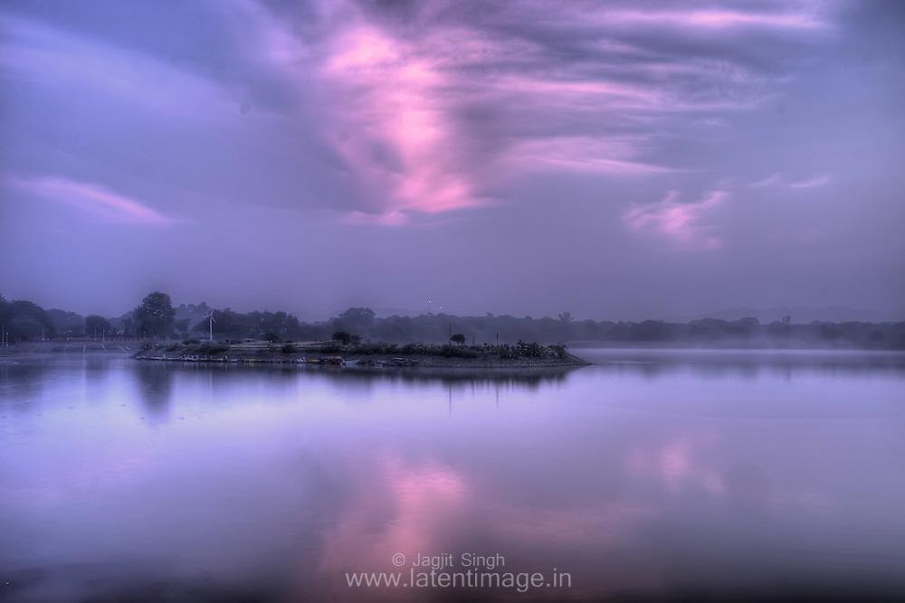 A blue morning at Sukhna Lake, Chandigarh.