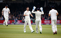 England's James Anderson celebrates the wicket of Pakistan's Azhar Ali for 50 during day two of the First NatWest Test Series match at Lord's, London.