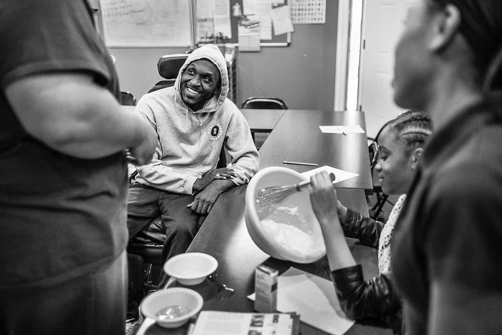 BALTIMORE, MD -- 3/6/17 -- Van Brooks runs the Safe Alternative Center, which he started to give middle school kids in West Baltimore a safe place to learn and play. <br /> <br /> Brooks was a Division 1 prospect when he played football in high school, but was paralyzed in a freak accident after making a tackle in his junior year. He regained the use of his arms, even walking again with much assistance, and graduated on time from high school. He later earned a degree in marketing from Towson University. Though still confined to a wheelchair, he is self-sufficient and runs the center.&hellip;by Andr&eacute; Chung #_AC21585