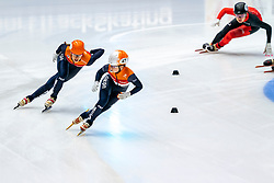 Suzanne Schulting, Yara van Kerkhof in action on the 3000 meter relay during ISU World Cup Finals Shorttrack 2020 on February 15, 2020 in Optisport Sportboulevard Dordrecht.