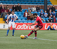 23rd September 2017, Rugby Park, Kilmarnock, Scotland; SPFL Premiership football, Kilmarnock versus Dundee; Dundee's Faissal El Bakhtaoui scores to put his side 1-0 ahead during the 1-1 draw with Kilmarnock