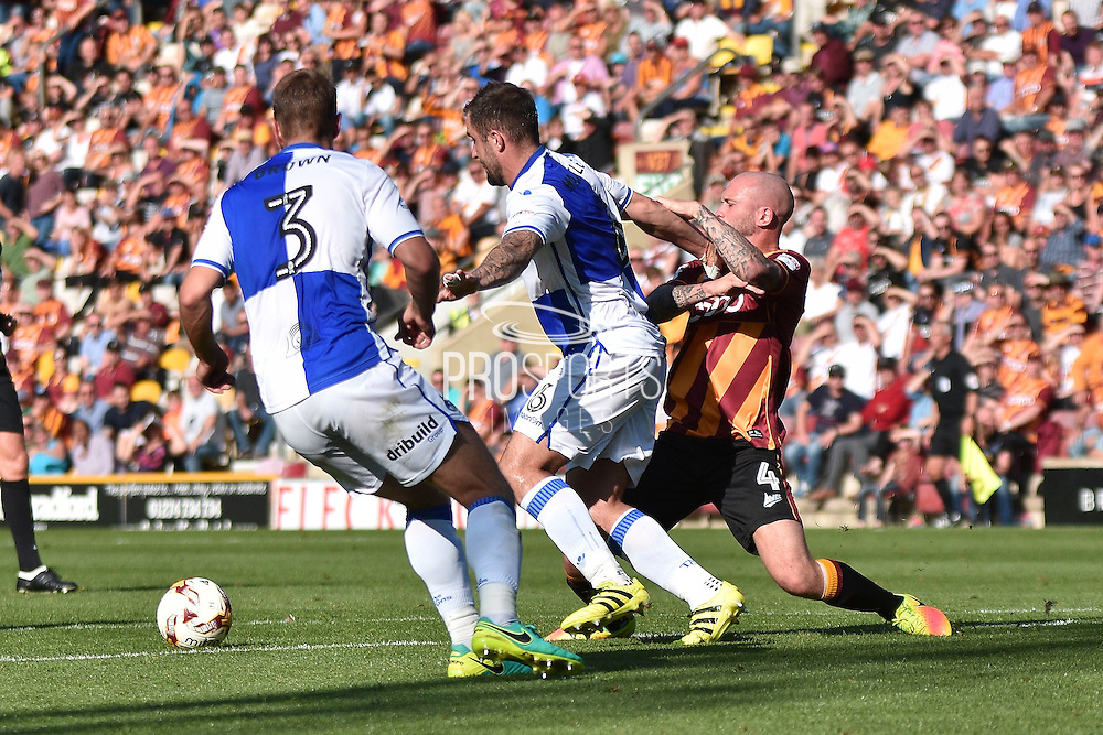 Bradford City Midfielder, Nicky Law (4), Bristol Rovers  defender Peter Hartley (6)  and Bristol Rovers  defender Lee Brown (3) during the EFL Sky Bet League 1 match between Bradford City and Bristol Rovers at the Coral Windows Stadium, Bradford, England on 17 September 2016. Photo by Mark Pollitt.