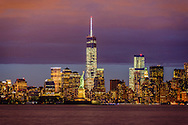 New York City Skyline and Statue of Liberty, Manhattan, New York