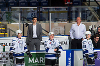 KELOWNA, CANADA - NOVEMBER 23: Victoria Royals' coaches Doug Bodger and J.F. Best stand on the bench during warm up against the Kelowna Rockets  on November 23, 2018 at Prospera Place in Kelowna, British Columbia, Canada.  (Photo by Marissa Baecker/Shoot the Breeze)