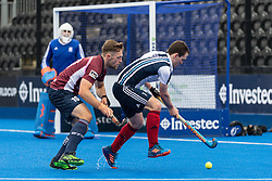 Hampstead & Westminster's Toby Roche. Wimbledon v Hampstead & Westminster - Men's Hockey League Finals, Lee Valley Hockey & Tennis Centre, London, UK on 28 April 2018. Photo: Simon Parker