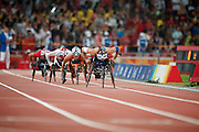 DAWES Christie AUS, McFADDEN Tatyana USA, GRAF Sandra SUI, ROY Diane CAN, LIU Wenjun CHN, MATASSA Jessica CAN in The Bird's nest national stadium, competeing in the women's 800 m T 54 round 1 heat 2/2 at the Paralympic games, Beijing, China. 13th September 2008