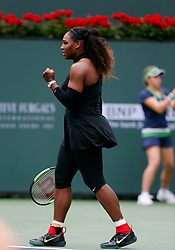 March 10, 2018 - Indian Wells, CA, U.S. - INDIAN WELLS, CA - MARCH 10: Serena Williams ( USA ) reacts after winning a point during  the second round of the BNP Paribas Open on March 10, 2018, at the Indian Wells Tennis Gardens in Indian Wells, CA. (Photo by Adam  Davis/Icon Sportswire) (Credit Image: © Adam Davis/Icon SMI via ZUMA Press)