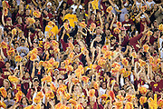University of Southern California Trojan fans celebrate a touchdown during a 70 to 17 win over the Arkansas Razorbacks on September 17, 2005 at Los Angeles Memorial Coliseum in Los Angeles, California..Mandatory Credit: Wesley Hitt/Icon SMI