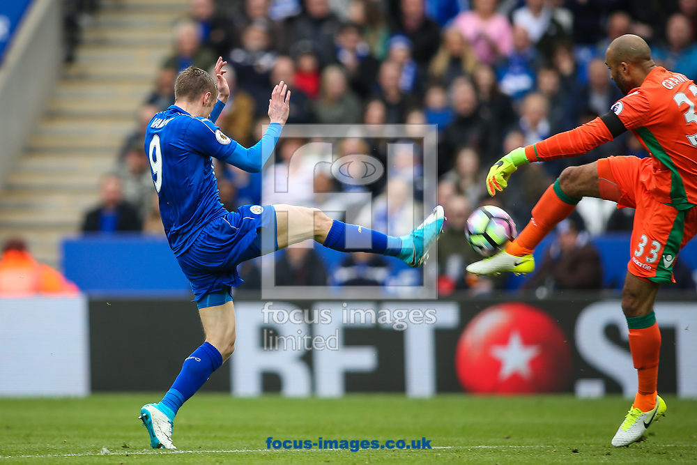 Jamie Vardy of Leicester City (left) competing with Lee Grant of Stoke City (right) during the Premier League match at the King Power Stadium, Leicester<br /> Picture by Andy Kearns/Focus Images Ltd 0781 864 4264<br /> 01/04/2017