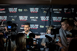 "LOS ANGELES, CA - MARCH 2:  former two-time world champion and resurgent contender Amir ""King"" Khan (31-3, 19 KOs) attends Canelo vs Khan press conference at Universal CityWalk - Five Towers Stage on March 2, 2016 in Los Angeles. Canelo vs. Khan, a 12-round fight for Canelo's WBC, Ring Magazine and Lineal Middleweight World Championships, is promoted by Golden Boy Promotions in association with Canelo Promotions and sponsored by Cerveza Tecate, BORN BOLD, O'Reilly Auto Parts and Casa Mexico Tequila. The mega-event will take place on Saturday, May 7 at T-Mobile Arena in Las Vegas and will be produced and distributed live by HBO Pay-Per-View beginning at 9:00 p.m. ET/6:00 p.m. PT. Byline, credit, TV usage, web usage or linkback must read SILVEXPHOTO.COM. Failure to byline correctly will incur double the agreed fee. Tel: +1 714 504 6870."