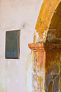 Plaque and arch, Santa Barbara Mission (Queen of the missions), Santa Barbara, California