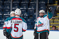 KELOWNA, CANADA - SEPTEMBER 2: Defenseman Cayde Augustine #2 of the Kelowna Rockets celebrates his first goal of WHL pre season against the Victoria Royals on September 2, 2017 at Prospera Place in Kelowna, British Columbia, Canada.  (Photo by Marissa Baecker/Shoot the Breeze)  *** Local Caption ***