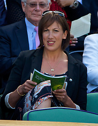 LONDON, ENGLAND - Thursday, July 3, 2014: Comedian Miranda Hart in the Royal Box during the Ladies' Singles Semi-Final match on day ten of the Wimbledon Lawn Tennis Championships at the All England Lawn Tennis and Croquet Club. (Pic by David Rawcliffe/Propaganda)