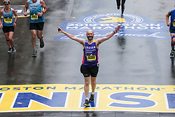 Joan Benoit Samuelson after she finishes the Boston Marathon