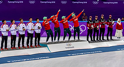 22-02-2018 KOR: Olympic Games day 13, PyeongChang<br /> Short Track Speedskating / Shaoang Liu #5 of Hungary, Viktor Knoch #11 of Hungary, Csaba Burjan #183 of Hungary, Shaolin Sandor Liu #10 of Hungary, China silver and Canada bronze
