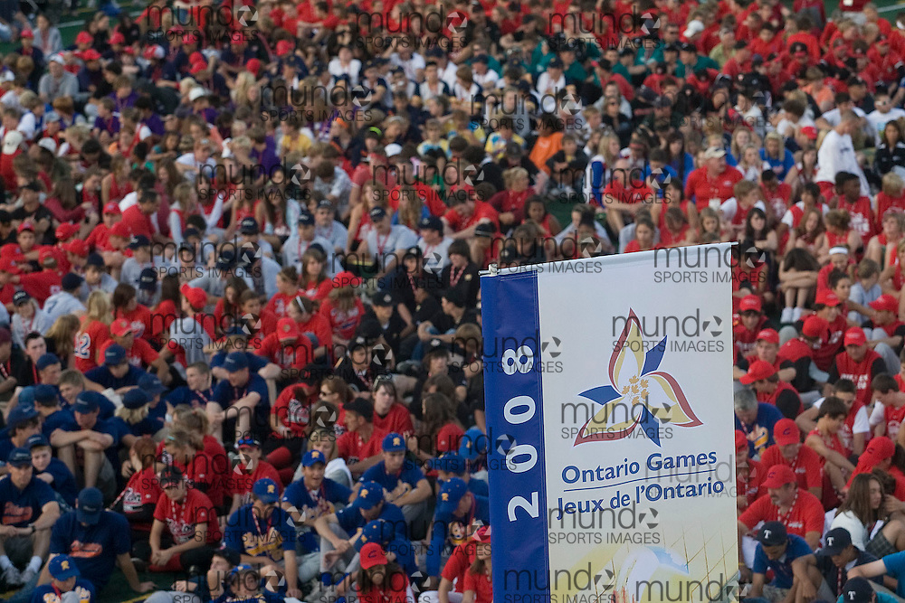 (Ottawa, Ontario---13 August 2008) Athletes sit and listen to the speeches during the opening ceremonies of the 2008 Ontario Summer Games in Ottawa. Photo copyright Sean Burges/Mundo Sport Images. More details can be found at www.msievents.com.