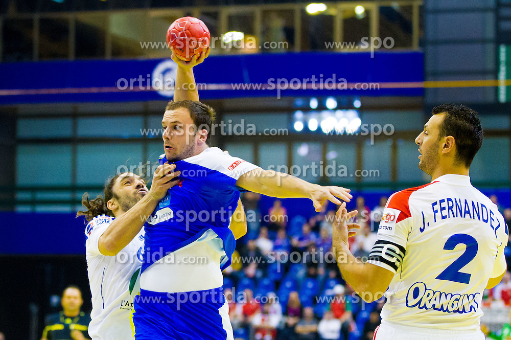 Bertrand Gille of France vs Uros Zorman of Slovenia during handball match between France and Slovenia in  Main Round of 10th EHF European Handball Championship Serbia 2012, on January 22, 2012 in Spens Hall, Novi Sad, Serbia. (Photo By Vid Ponikvar / Sportida.com)