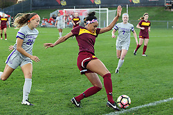 04 November 2016:  JBess Ruby & Sienna Cruz during an NCAA Missouri Valley Conference (MVC) Championship series women's semi-final soccer game between the Loyola Ramblers and the Evansville Purple Aces on Adelaide Street Field in Normal IL