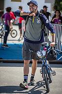 Men Elite #5 (CAMPO Alfredo) ECU arriving on race day at the 2018 UCI BMX World Championships in Baku, Azerbaijan.