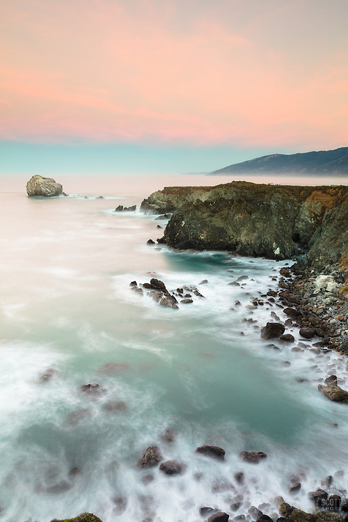 """Dawn at Plaskett Rock 3"" - Long exposure photograph taken at dawn at Big Sur, California. Plaskett Rock can be seen in the distance."