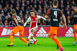 Sergino Dest #28 of Ajax, Olivier Boscagli #28 of PSV Eindhoven in action during the match between Ajax and PSV at Johan Cruyff Arena on February 02, 2020 in Amsterdam, Netherlands