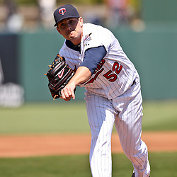 March 11, 2011; Fort Myers, FL, USA; Minnesota Twins relief pitcher Brian Duensing (52) during a spring training exhibition game against the Boston Red Sox at Hammond Stadium.   Mandatory Credit: Derick E. Hingle