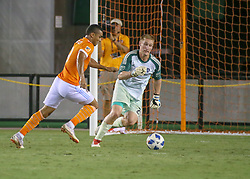 July 18, 2018 - Houston, TX, U.S. - HOUSTON, TX - JULY 18:  Houston Dynamo forward Mauro Manotas (9) prepares to strike on goal as Sporting Kansas City goalkeeper Tim Melia (29) moves to trap the ball during the US Open Cup Quarterfinal soccer match between Sporting KC and Houston Dynamo on July 18, 2018 at BBVA Compass Stadium in Houston, Texas. (Photo by Leslie Plaza Johnson/Icon Sportswire) (Credit Image: © Leslie Plaza Johnson/Icon SMI via ZUMA Press)