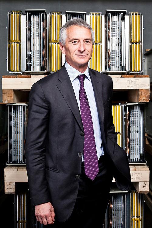 Giorgio Pogliano, presidente della POGLIANO BusBar nella fabbrica di Grugliasco, Torino. Uno dei prodotti più conosciuti dell'azienda è il Blindosbarra.