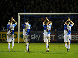 Tom Parkes, Lee Brown, James Clarke and Tom Lockyer of Bristol Rovers go to the fans  - Mandatory byline: Neil Brookman/JMP - 07966 386802 - 02/01/2016 - FOOTBALL - Memorial Stadium - Bristol, England - Bristol Rovers v Luton Town - Sky Bet League Two