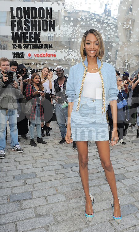 Model Jourdan Dunn at LFW S/S 2015  Somerset House in London, UK. 12/09/2014<br /> BYLINE MUST READ : GOTCHAIMAGES.COM<br /> <br /> Copyright by &copy; Gotcha Images Ltd. All rights reserved.<br /> Usage of this image is conditional upon the acceptance <br /> of Gotcha Images Ltd, terms and conditions available at<br /> www.gotchaimages.com