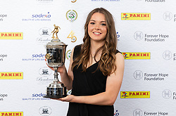 Lauren Hemp poses with the PFA Young Female Player Of The Year Award Trophy during the 2018 PFA Awards at the Grosvenor House Hotel, London