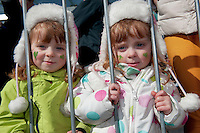 17/03/2013 Twins Grace and Ciara Coyle at the Galway St Patrick's Day Parade.Picture:Andrew Downes.