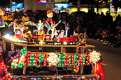 This automobile had a fully functional holiday train set running during Sunday night's 2013 Holiday Parade of Lights along Main Street in Salinas.