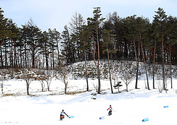 Skiers make their way round the course in the Men's 7.5km, Sitting Cross Country Skiing, at the Alpensia Biathlon Centre during day eight of the PyeongChang 2018 Winter Paralympics in South Korea
