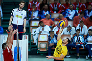 Katowice, Poland - 2017 September 01: (R) Volleyball player of GKS Katowice attends in All Stars Game while Opening Ceremony during European Unified Volleyball Tournament 2017 at Spodek Hall on September 01, 2017 in Katowice, Poland.<br /> <br /> Adam Nurkiewicz declares that he has no rights to the image of people at the photographs of his authorship.<br /> <br /> Picture also available in RAW (NEF) or TIFF format on special request.<br /> <br /> Any editorial, commercial or promotional use requires written permission from the author of image.<br /> <br /> Image can be used in the press when the method of use and the signature does not hurt people on the picture.<br /> <br /> Mandatory credit:<br /> Photo by © Adam Nurkiewicz / Mediasport