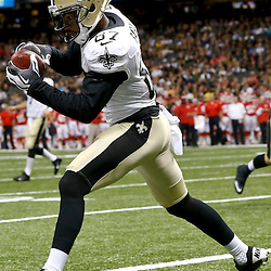Aug 9, 2013; New Orleans, LA, USA; New Orleans Saints wide receiver Preston Parker (87) catches a touchdown against the Kansas City Chiefs during a preseason game at the Mercedes-Benz Superdome. The Saints defeated the Chiefs 17-13. Mandatory Credit: Derick E. Hingle-USA TODAY Sports