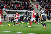 Lee Tomlin scores Middlesbrough's third goal during the Sky Bet Championship match between Rotherham United and Middlesbrough at the New York Stadium, Rotherham, England on 1 November 2014.