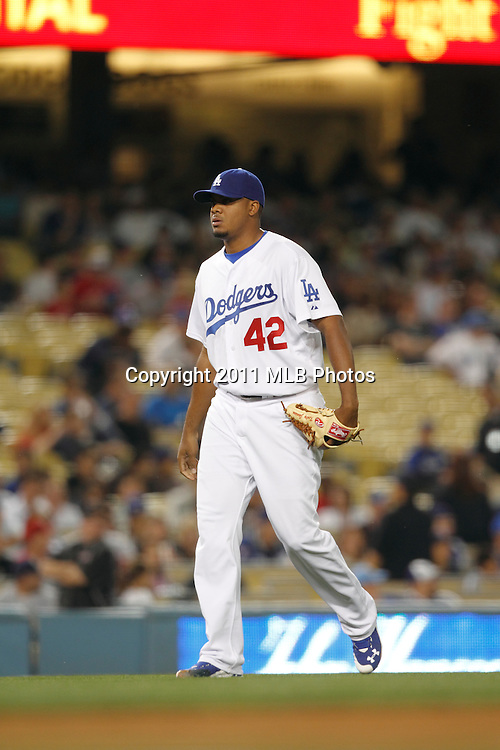 LOS ANGELES, CA - APRIL 15:  Relief pitcher Kenley Jansen #74 of the Los Angeles Dodgers comes in to pitch during the game between the St. Louis Cardinals and the Los Angeles Dodgers on Friday April 15, 2011 at Dodger Stadium in Los Angeles, California. (Photo by Paul Spinelli/MLB Photos via Getty Images) *** Local Caption *** Kenley Jansen