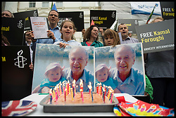 September 5, 2017 - London, London, United Kingdom - Image ©Licensed to i-Images Picture Agency. 05/09/2017. London, United Kingdom. ..Family and friends of Kamal Foroughi celebrate his 78th birthday and campaign to Iran to release him from jail, outside of the Iranian Embassy in London, UK. Kamal Foroughi is serving a 7 year jail sentence in Iran after being convicted of Espionage...Picture by Ben Stevens / i-Images (Credit Image: © Ben Stevens/i-Images via ZUMA Press)