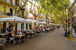 Street scene in the Rambla del Poblenou, Barcelona, Catalonia, Spain