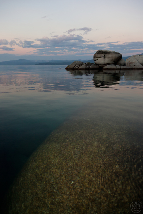 """""""Tahoe Boulders at Sunrise 4"""" - These boulders were photographed at sunrise near Speedboat Beach, Lake Tahoe."""