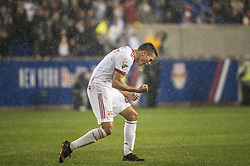March 1, 2018 - Harrison, New Jersey, United States - New York Red Bulls midfielder Sean Davis (27) celebrates his goal during the CONCACAF Champions league match at Red Bull Arena in Harrison, NJ.  NY Red Bulls defeat CD Olimpia 2-0  (Credit Image: © Mark Smith via ZUMA Wire)