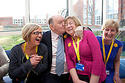 No fee for Repro: .George Hook is pictured getting up close and personal at the launch of the Irish Cancer Society Daffodil Centre at St. James's Hospital with Daffodil Centre volunteers l-r Helen Ryan, Gina Spollen and Catherine Mullan. The Daffodil Centre is an extension of the Irish Cancer Society's Cancer Information Service at the point of diagnosis and treatment, the hospital. Pic Andres Poveda