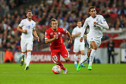 Switzerland's Xherdan Shaqiri through on goal during the UEFA European 2016 Qualifying match between England and Switzerland at Wembley Stadium, London, England on 8 September 2015. Photo by Shane Healey.