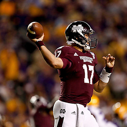 November 10, 2012; Baton Rouge, LA, USA;  Mississippi State Bulldogs quarterback Tyler Russell (17) during the first half of a game against the Mississippi State Bulldogs at Tiger Stadium.  Mandatory Credit: Derick E. Hingle-US PRESSWIRE