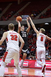 07 January 2018:  Ryan Kreklow with a pull up over Isaac Gassman during a College mens basketball game between the Missouri State Bears and Illinois State Redbirds in Redbird Arena, Normal IL