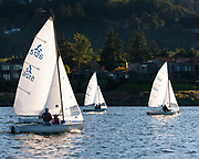 Dinghy fleet racing night on the Willamette River, Wednesday 25 July 2018, Willamette Sailing Club (WSC), Portland Oregon